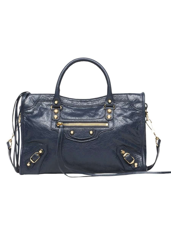 Classic City Medium Midnight Blue Crinkled Leather Tote Bag