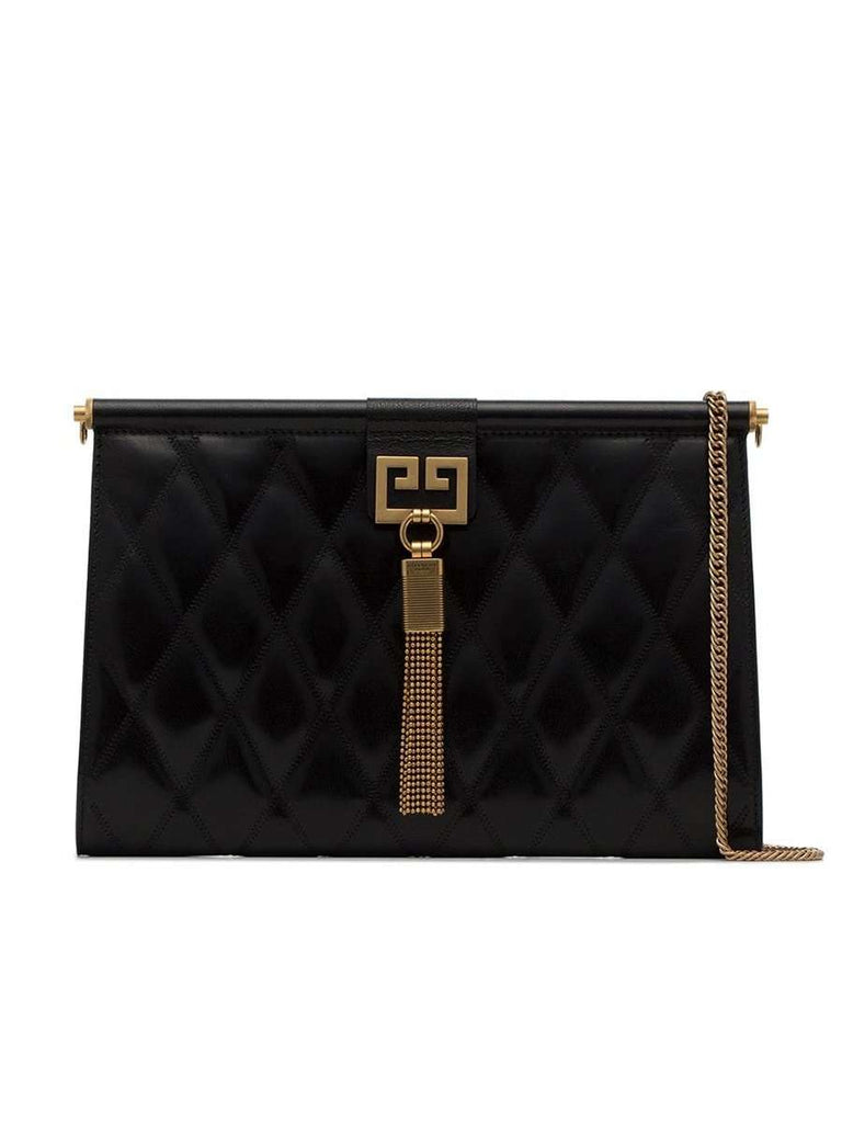 Medium Gem Black Quilted Leather Shoulder Bag