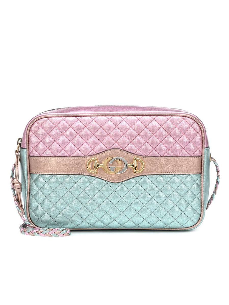 Small Laminated Pink And Blue Leather Shoulder Bag