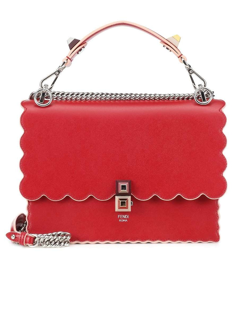 Medium Kan I Red Smooth Leather Shoulder Bag