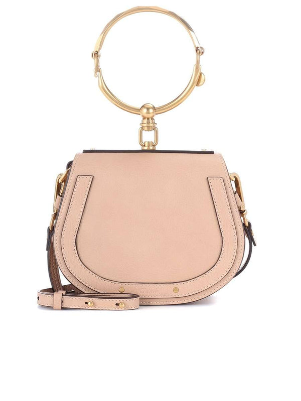 Small Nile Biscotti Beige Leather & Suede Bracelet Bag