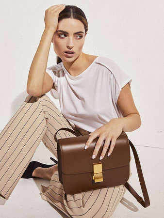Medium Classic Bag In Camel Box Calfskin holding