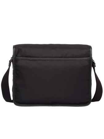 Nylon and Saffiano Leather Bag with Strap