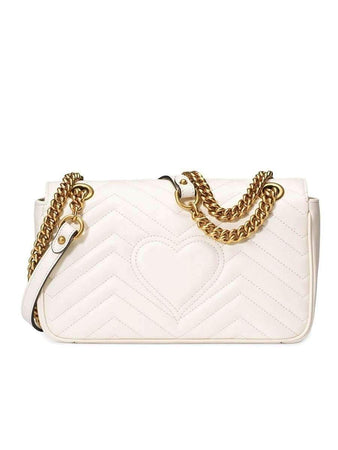 Marmont Small Matelasse Shoulder Bag in White