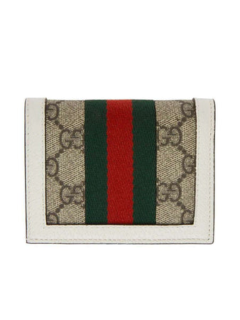 Queen Margaret GG Card Case Wallet In White & GG Supreme back