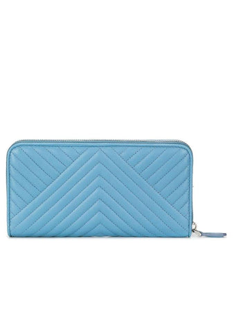 Quilted Leather Continental Wallet In Pale Blue