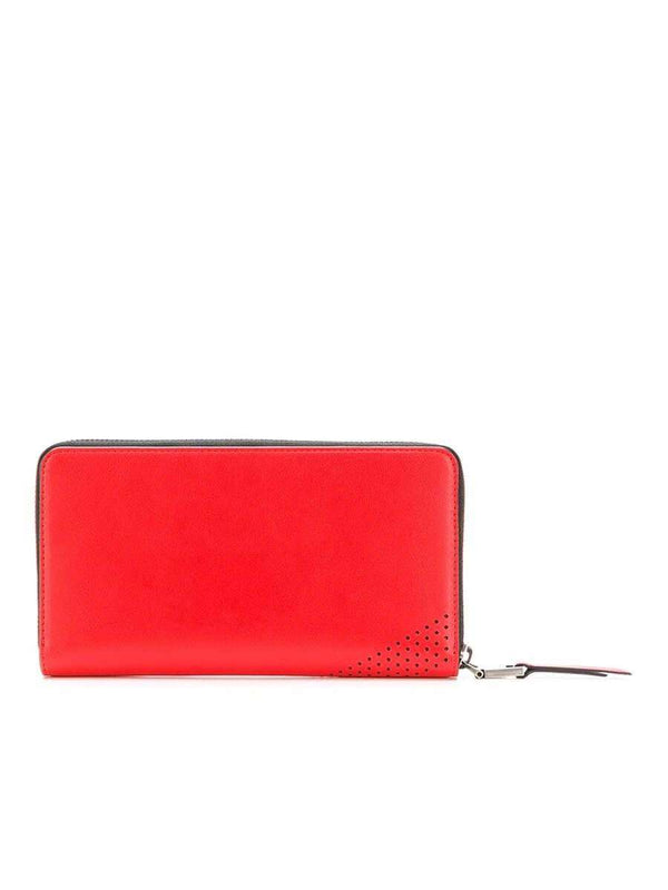 Perforated Logo Leather Wallet In Red
