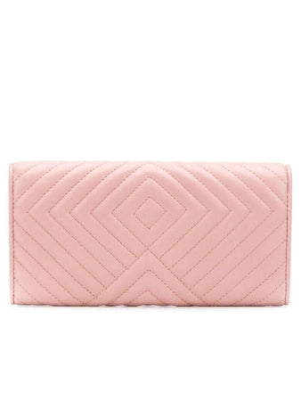 Quilted Leather Continental Wallet In Orchidea