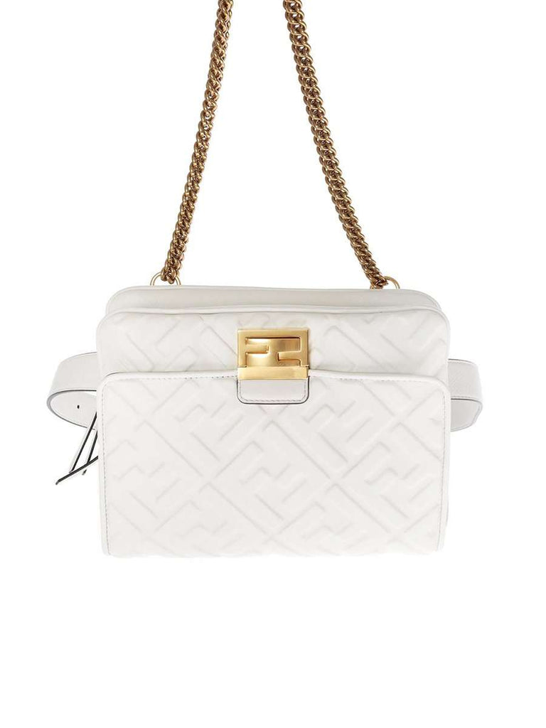 Upside Down Bag In White Embossed Leather