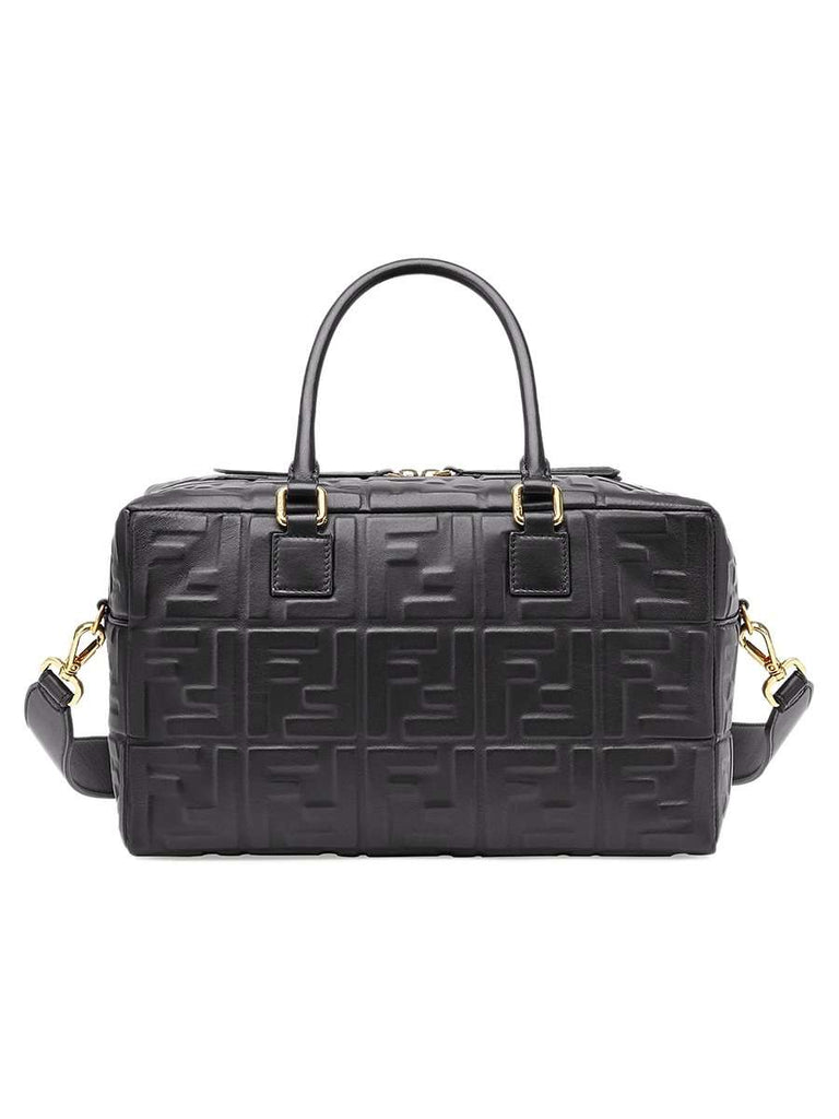 Small Boston FF Embossed Black Leather Duffle Bag