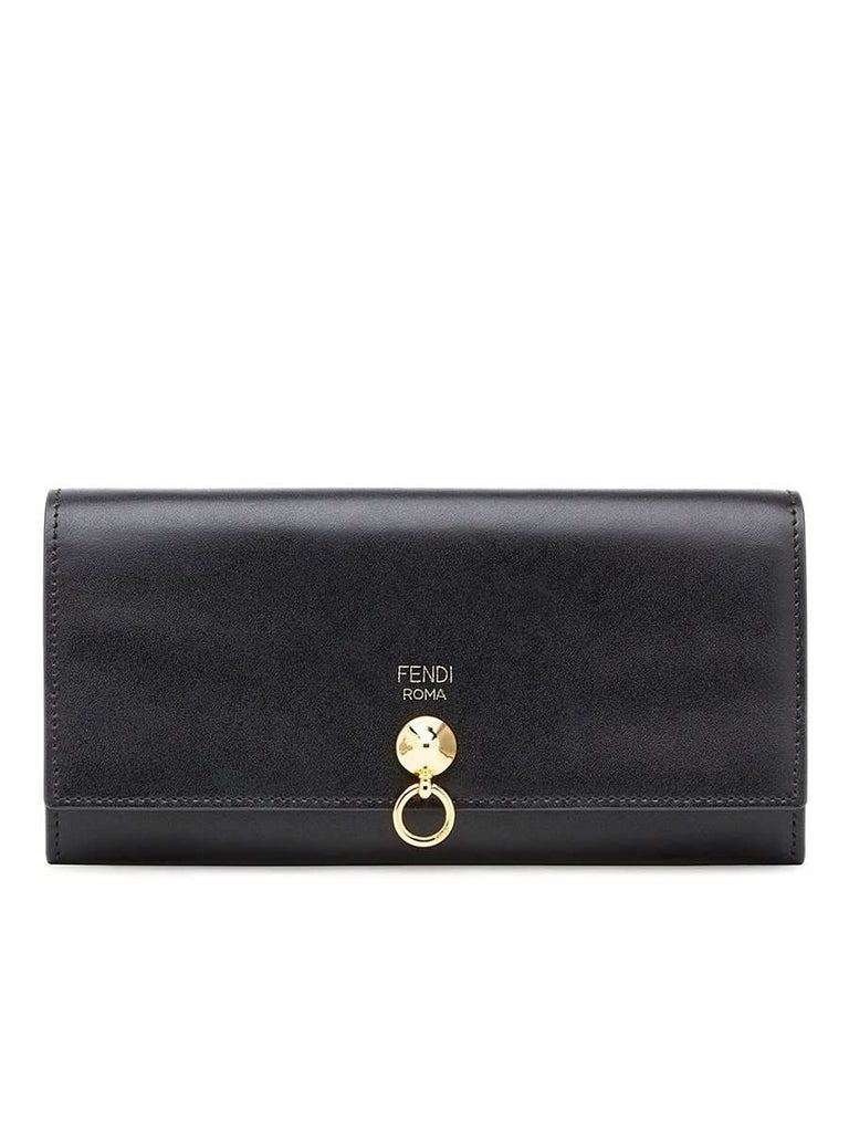 Continental Gold Conical Stud Black Leather Wallet