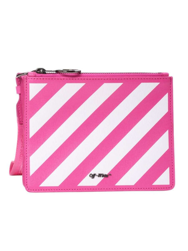 Flat Diag White & Fuchsia Leather Double Clutch