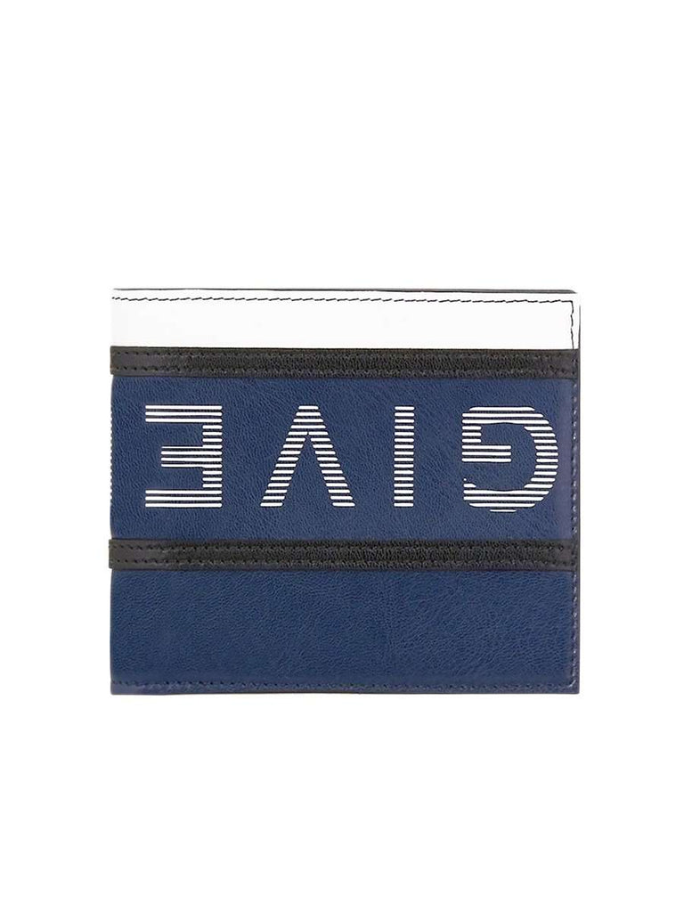 Reverse Printed Logo Blue Leather Wallet