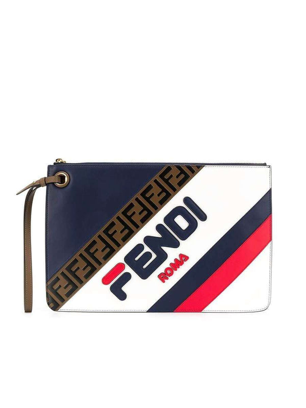 X Fila Medium Mania Logo Blueberry & Multicolor Leather Clutch