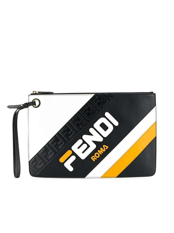 X Fila Medium Mania Logo Black & White Leather Clutch