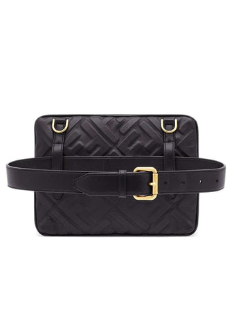 Upside Down Bag In Black Embossed Leather