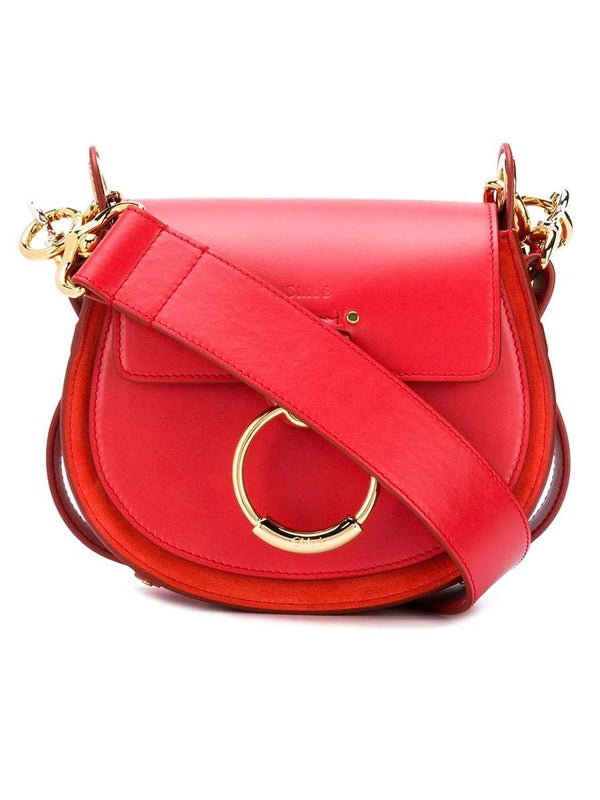 Small Tess Plaid Red Leather Crossbody Bag