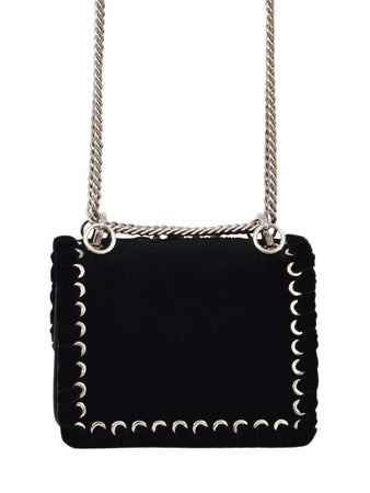 Small Kan I Black Velvet Embroidered Shoulder Bag back