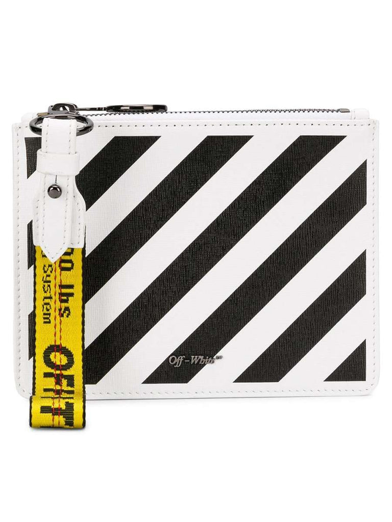 Flat Diag White & Black Leather Double Clutch