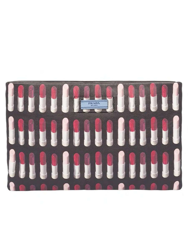 Black Leather Lipstick Print Clutch