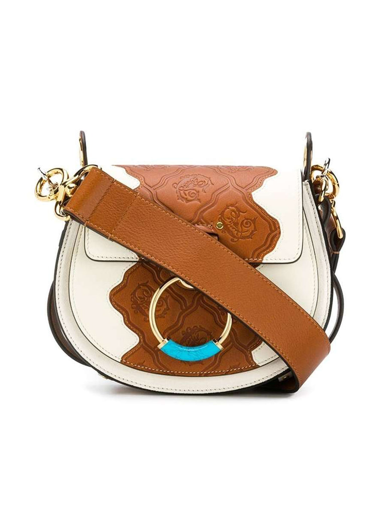 Small Tess Animation Natural White Leather Crossbody Bag