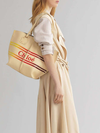 Vick Printed Leather Tote In Gradient Blondie Beige