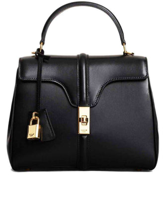 Small 16 Bag in Black Satinated Calfskin front