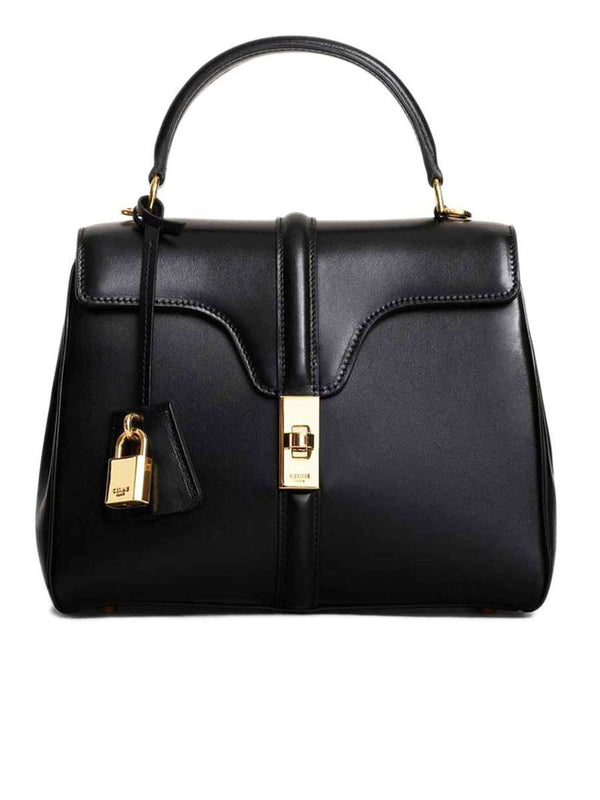 Small 16 Bag in Black Satinated Calfskin
