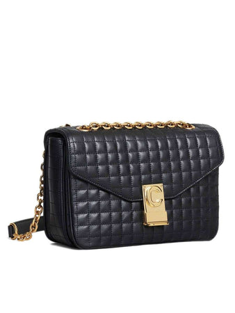 Medium C Bag in Black Quilted Calfskin side