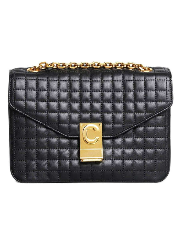 Medium C Bag in Black Quilted Calfskin