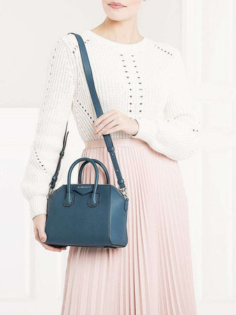 Antigona Mini Ocean Blue Grained Leather Handbag wearing