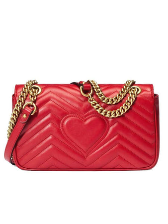 GG Marmont Small Matelasse Red Leather Shoulder Bag front