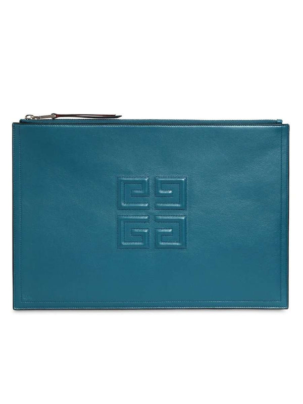 Emblem 4G Logo Ocean Blue Clutch Bag