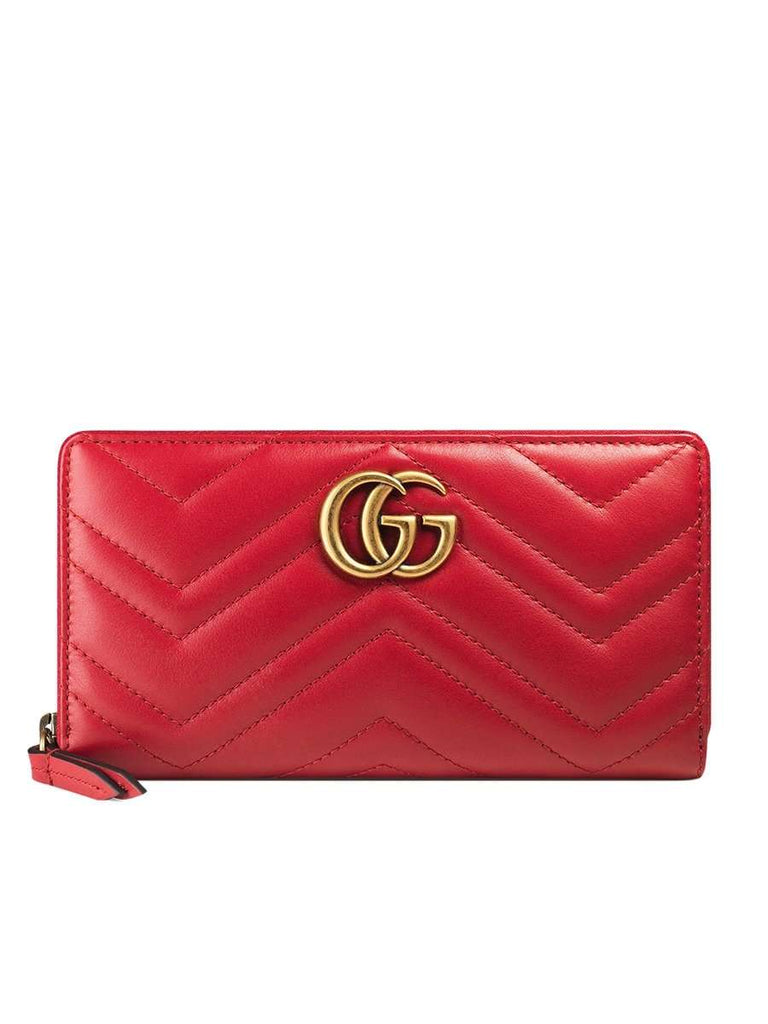 GG Marmont Zip Around Red Leather Wallet
