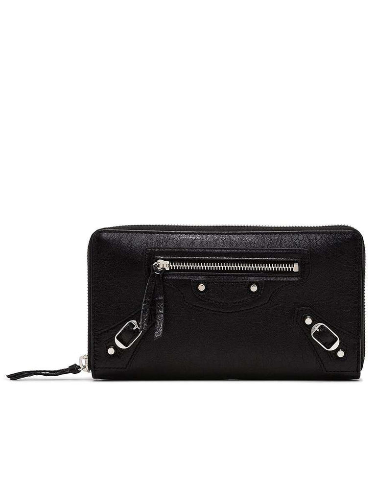 City Zip Around Black Leather Continental Wallet