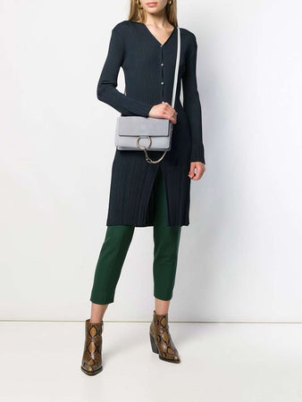 Small Faye Light Cloud Leather & Suede Shoulder Bag