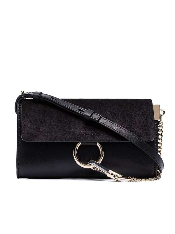 Mini Faye Black Leather & Suede Crossbody Bag