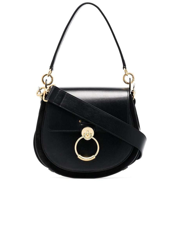 Large Tess Black Leather Shoulder Bag