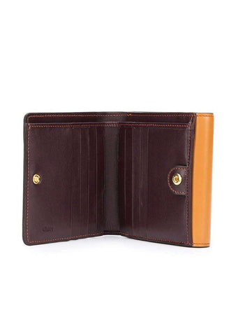 Small C Autumnal Brown Leather Wallet open