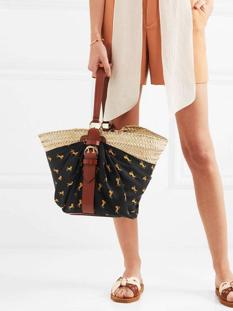 Panier Leather-Trimmed Black & Yellow Printed Twill and Woven Raffia Tote