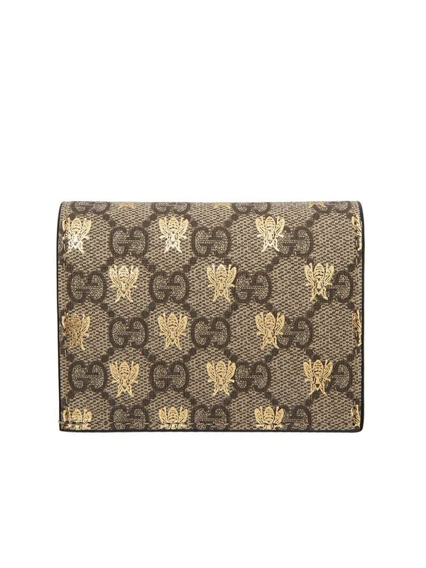 GG Supreme Bees Card Case Beige & Ebony Canvas Wallet