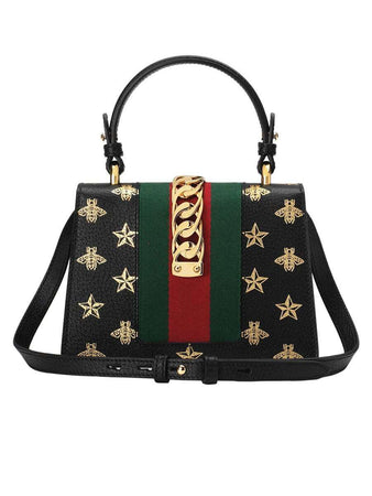 Sylvie Bee Star Mini Black Leather Bag back