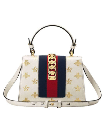 Sylvie Bee Star Mini White Leather Bag back