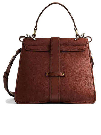Medium Aby Day Bag in Sepia Brown Grained Leather back