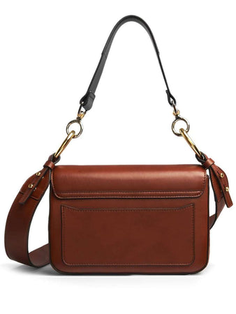 Medium C Sepia Brown Leather Double Carry Bag