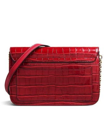 C Clutch Dusky Red Croc-embossed Leather back