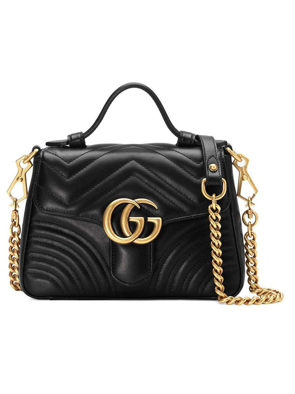 GG Marmont Mini Matelassé Top Handle Black Bag