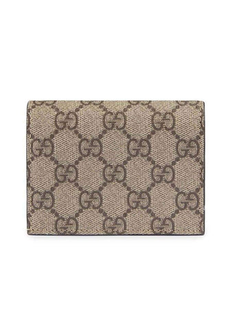 GG Supreme Beige&Ebony Canvas Card Case Wallet front