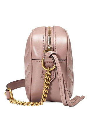 GG Marmont Mini Matelassé Zipped Shoulder Bag In Dusty Pink side