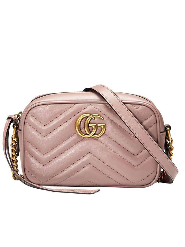 GG Marmont Mini Matelassé Zipped Shoulder Bag In Dusty Pink